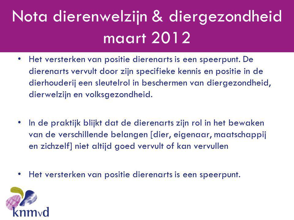 Nota dierenwelzijn & diergezondheid maart 2012 •Het versterken van positie dierenarts is een speerpunt. De dierenarts vervult door zijn specifieke ken