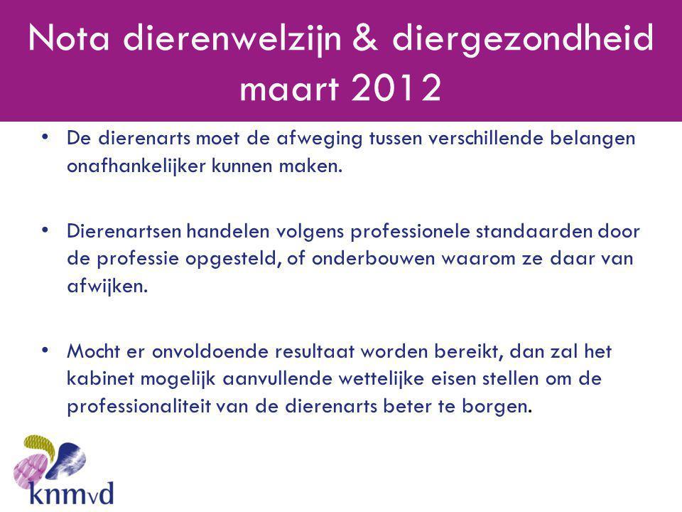 Nota dierenwelzijn & diergezondheid maart 2012 •De dierenarts moet de afweging tussen verschillende belangen onafhankelijker kunnen maken. •Dierenarts
