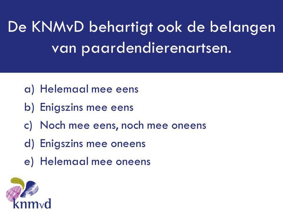 De KNMvD behartigt ook de belangen van paardendierenartsen. a)Helemaal mee eens b)Enigszins mee eens c)Noch mee eens, noch mee oneens d)Enigszins mee