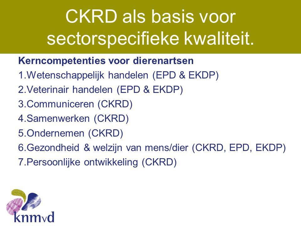CKRD als basis voor sectorspecifieke kwaliteit. Kerncompetenties voor dierenartsen 1.Wetenschappelijk handelen (EPD & EKDP) 2.Veterinair handelen (EPD
