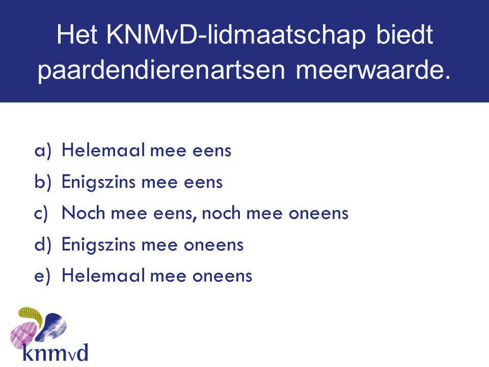 Het KNMvD-lidmaatschap biedt paardendierenartsen meerwaarde. a)Helemaal mee eens b)Enigszins mee eens c)Noch mee eens, noch mee oneens d)Enigszins mee
