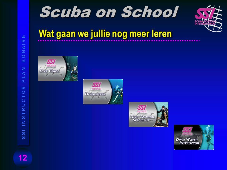 12 S S I I N S T R U C T O R P L A N B O N A I R E Wat gaan we jullie nog meer leren Scuba on School
