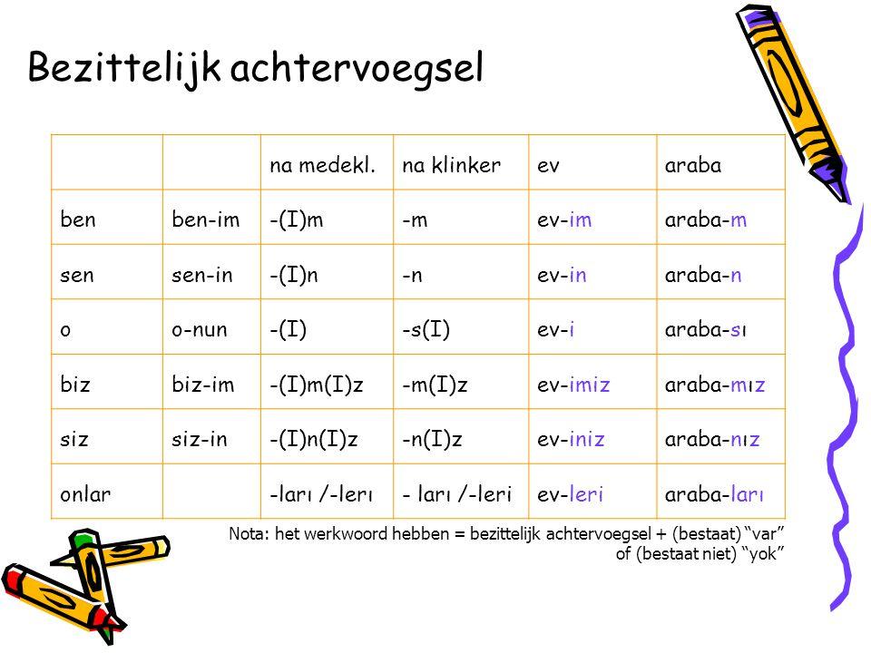 Naamvallen nominatief-evradyokitaplar genitief (van het /de)-(n)Inev-inradyo-nunkitaplar-ın accusatief (bep.