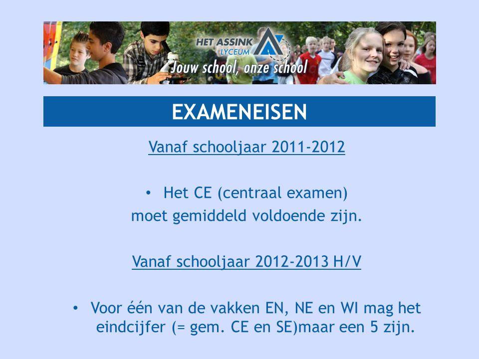 EXAMENEISEN Vanaf schooljaar 2011-2012 • Het CE (centraal examen) moet gemiddeld voldoende zijn. Vanaf schooljaar 2012-2013 H/V • Voor één van de vakk