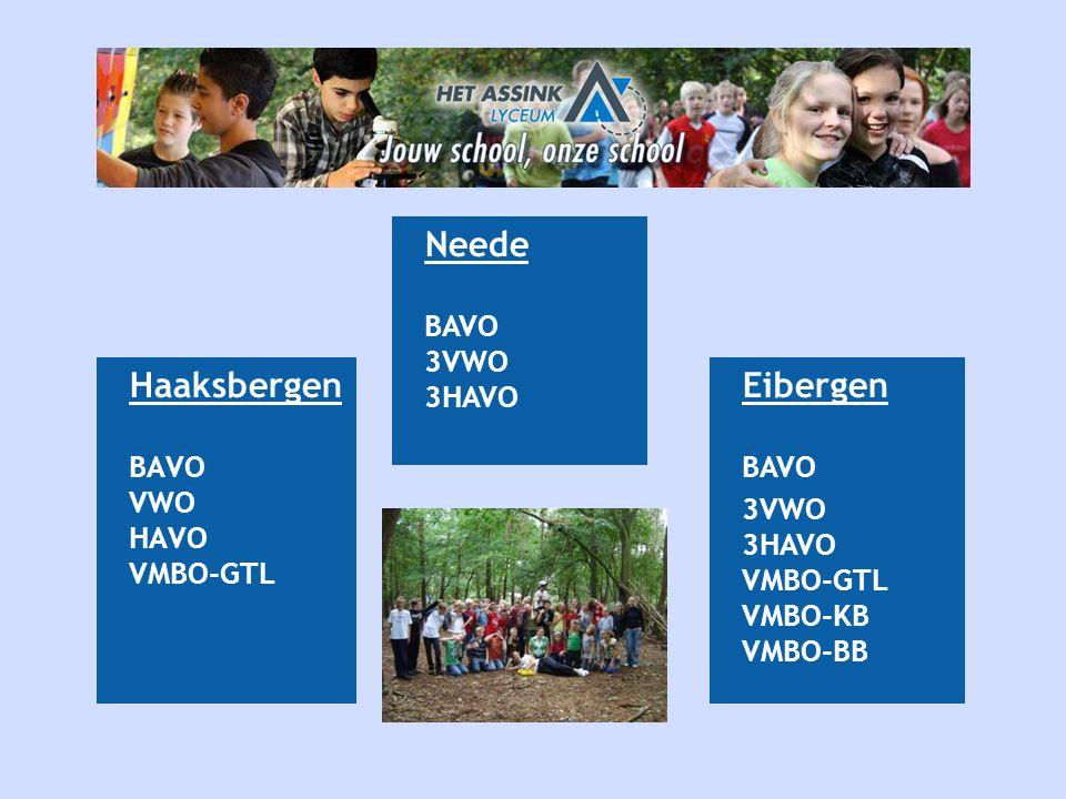Haaksbergen BAVO VWO HAVO VMBO-GTL Eibergen BAVO 3VWO 3HAVO VMBO-GTL VMBO-KB VMBO-BB Neede BAVO 3VWO 3HAVO