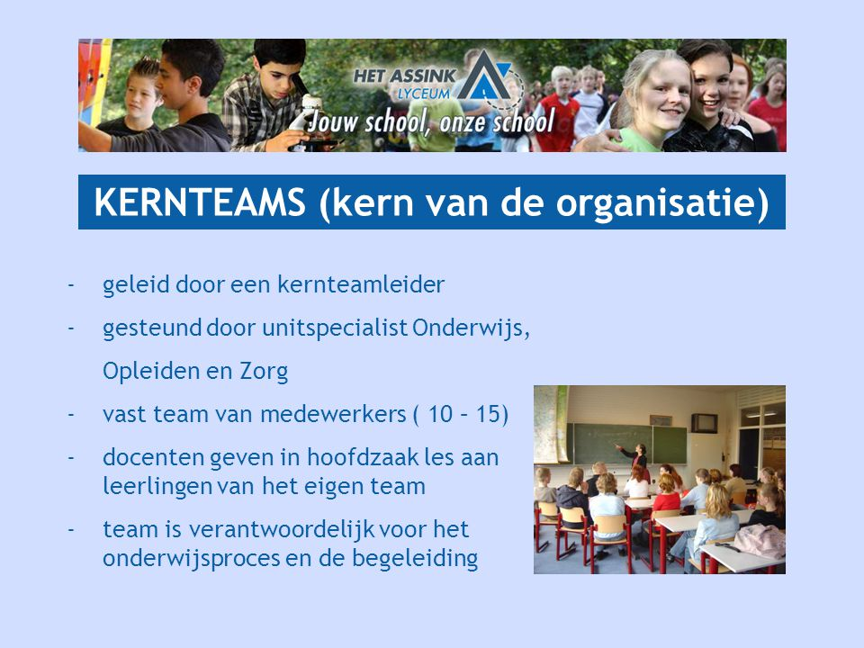 KERNTEAMS (kern van de organisatie) -geleid door een kernteamleider - gesteund door unitspecialist Onderwijs, Opleiden en Zorg -vast team van medewerkers ( 10 – 15) -docenten geven in hoofdzaak les aan leerlingen van het eigen team -team is verantwoordelijk voor het onderwijsproces en de begeleiding
