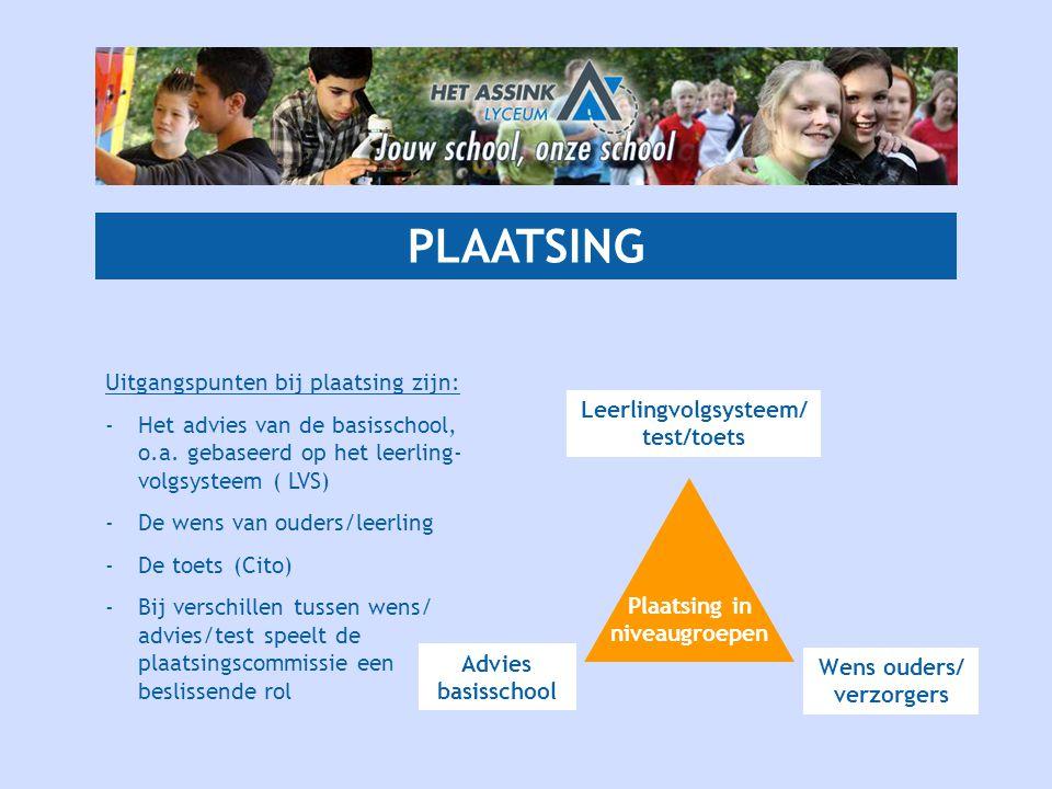 PLAATSING Uitgangspunten bij plaatsing zijn: -Het advies van de basisschool, o.a. gebaseerd op het leerling- volgsysteem ( LVS) -De wens van ouders/le