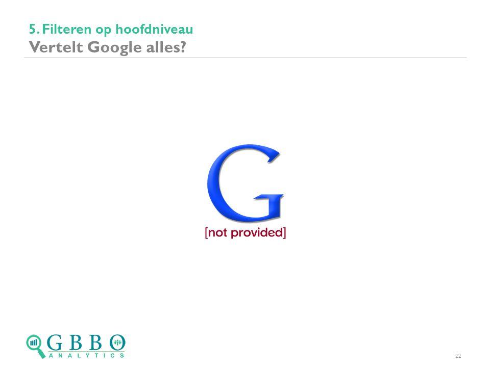 5. Filteren op hoofdniveau Vertelt Google alles? 22