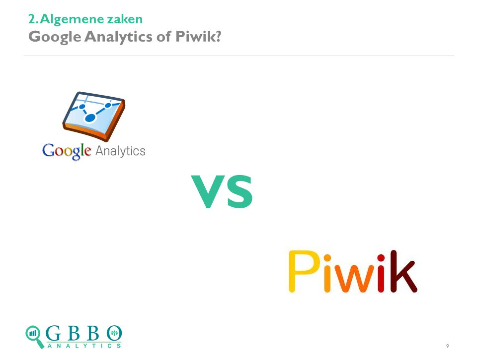 2. Algemene zaken Google Analytics of Piwik 9 VS