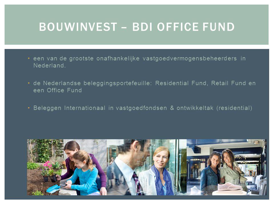•een van de grootste onafhankelijke vastgoedvermogensbeheerders in Nederland. •de Nederlandse beleggingsportefeuille: Residential Fund, Retail Fund en