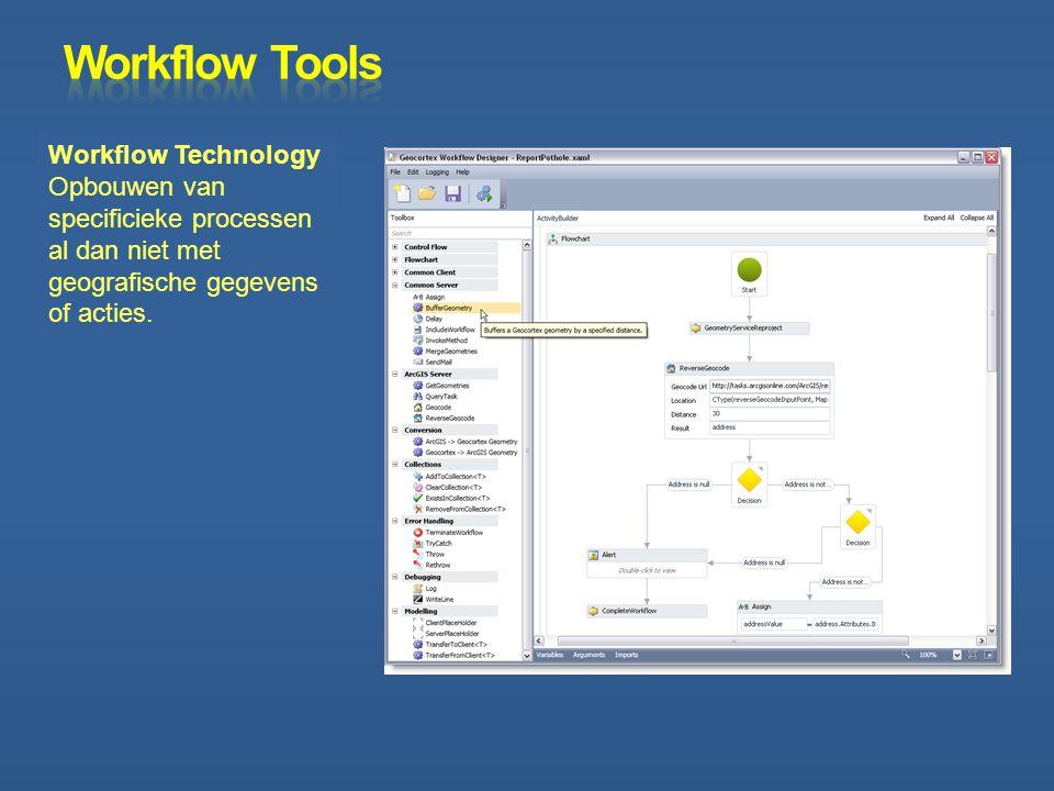 Workflow Technology Opbouwen van specificieke processen al dan niet met geografische gegevens of acties.