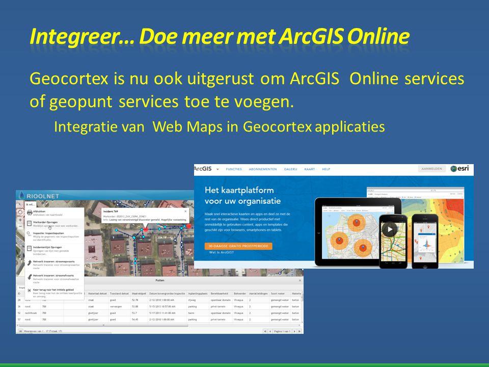 Geocortex is nu ook uitgerust om ArcGIS Online services of geopunt services toe te voegen. Integratie van Web Maps in Geocortex applicaties