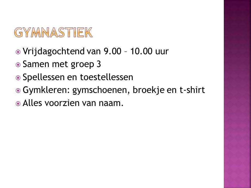  Vrijdagochtend van 9.00 – 10.00 uur  Samen met groep 3  Spellessen en toestellessen  Gymkleren: gymschoenen, broekje en t-shirt  Alles voorzien
