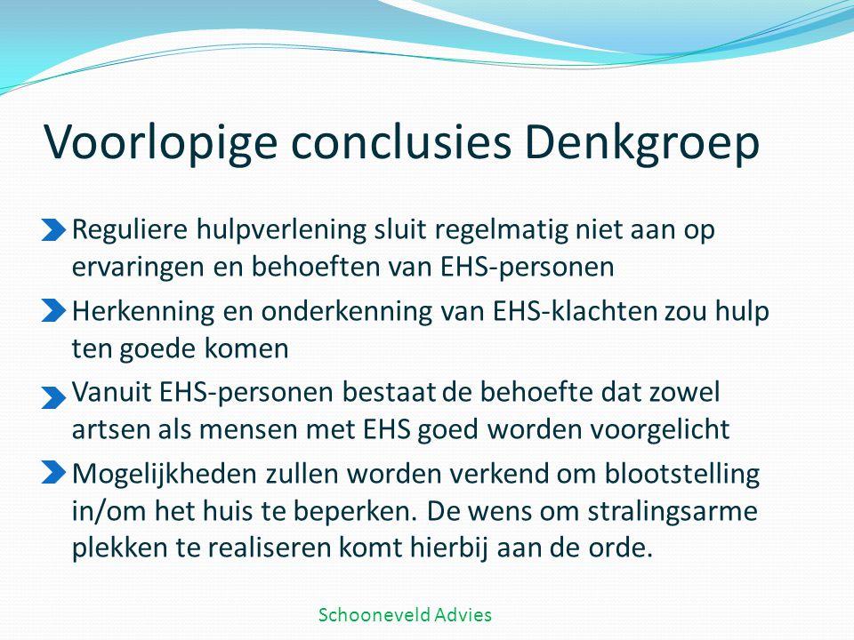 Voorlopige conclusies Denkgroep Reguliere hulpverlening sluit regelmatig niet aan op ervaringen en behoeften van EHS-personen Herkenning en onderkenni