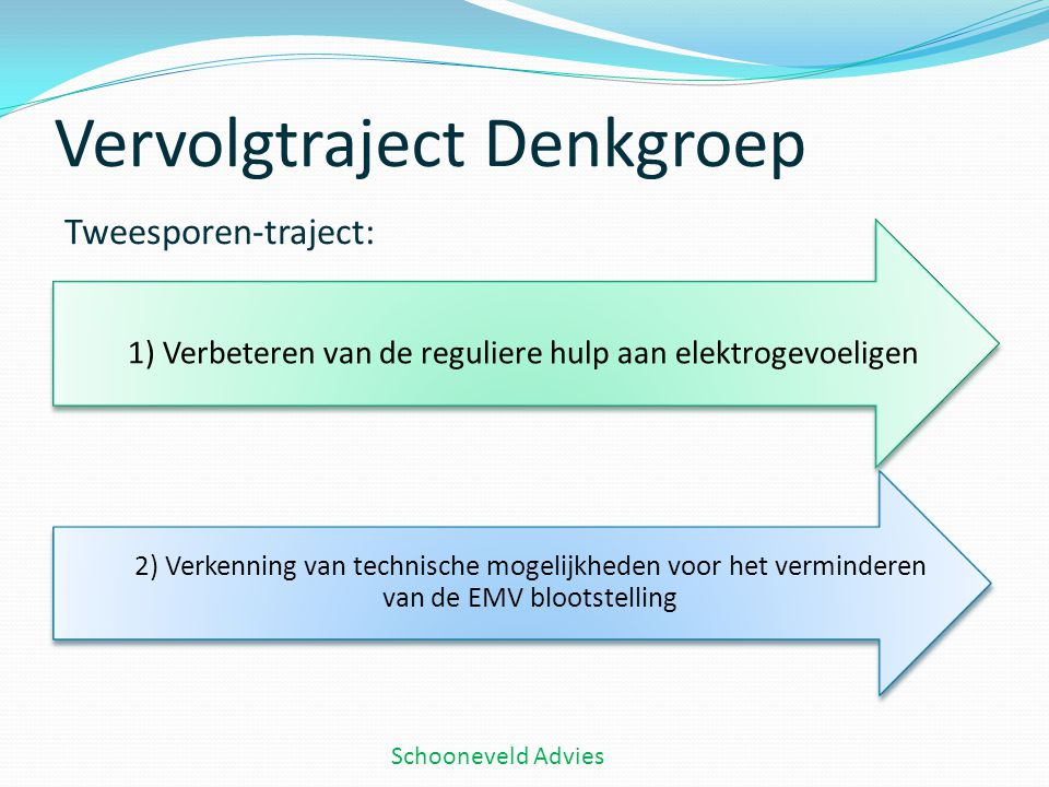 Vervolgtraject Denkgroep Tweesporen-traject: Schooneveld Advies 1) Verbeteren van de reguliere hulp aan elektrogevoeligen 2) Verkenning van technische