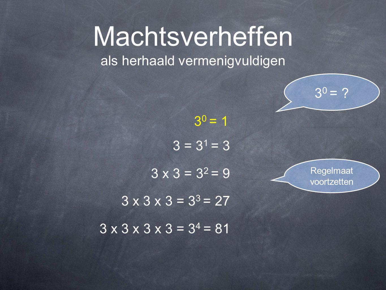 Machtsverheffen als herhaald vermenigvuldigen 3 = 3 1 = 3 3 x 3 = 3 2 = 9 3 x 3 x 3 = 3 3 = 27 3 x 3 x 3 x 3 = 3 4 = 81 3 0 = ? 3 0 = 1 Regelmaat voor