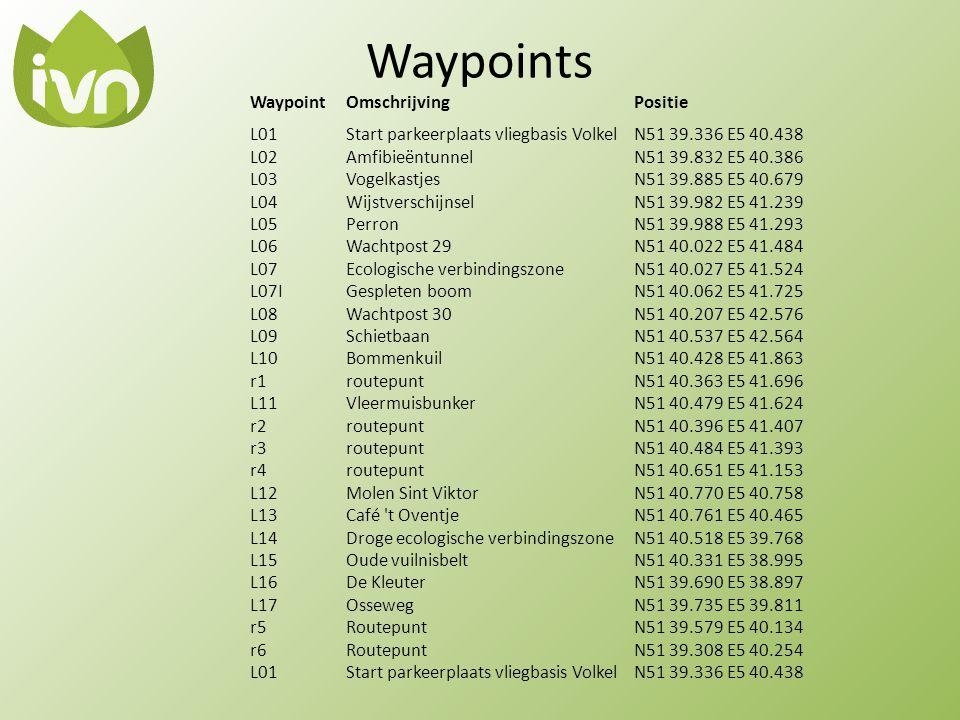 Waypoints WaypointOmschrijvingPositie L01Start parkeerplaats vliegbasis VolkelN51 39.336 E5 40.438 L02AmfibieëntunnelN51 39.832 E5 40.386 L03Vogelkast