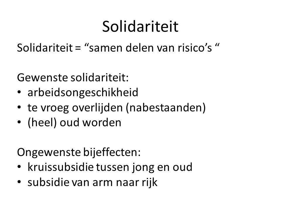 """Solidariteit Solidariteit = """"samen delen van risico's """" Gewenste solidariteit: • arbeidsongeschikheid • te vroeg overlijden (nabestaanden) • (heel) ou"""