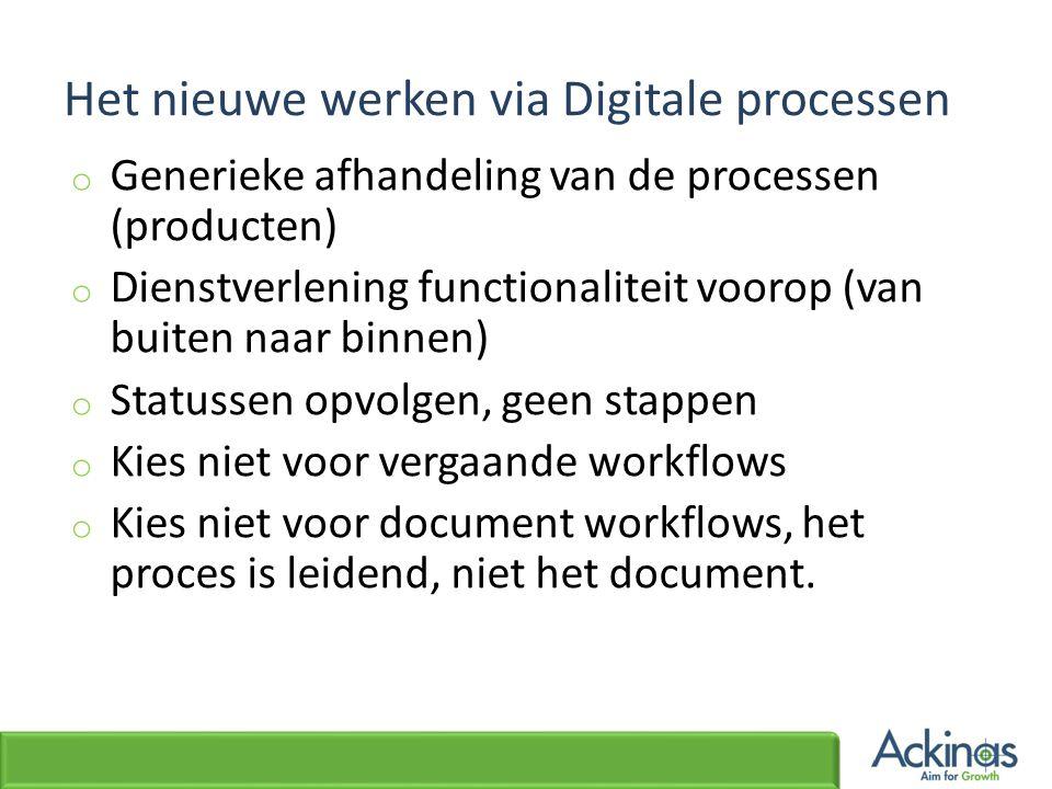 Het nieuwe werken via Digitale processen o Generieke afhandeling van de processen (producten) o Dienstverlening functionaliteit voorop (van buiten naa