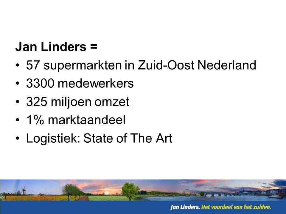 Jan Linders wil de beste supermarkt van het zuiden zijn door: •Kwaliteit van producten •Prijzen lager dan gemiddeld •Klantgerichte medewerkers •Lokale en regionale betrokkenheid
