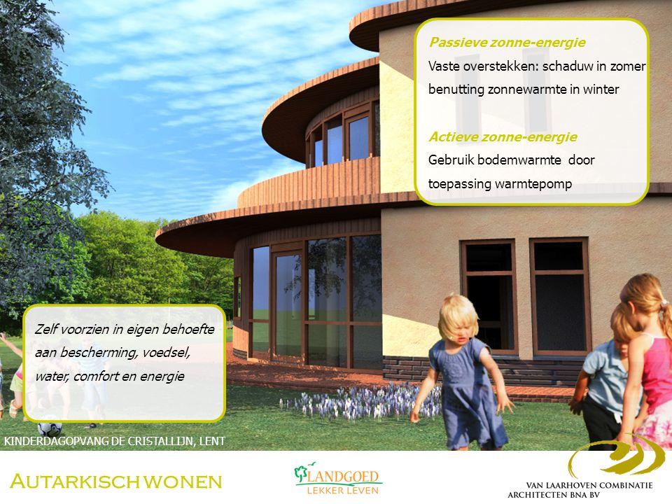 Autarkisch wonen Verwarming Verwarming met tegelkachel (biomassa) Water Opvang en hergebruik hemelwater WONING MET WERKPLAATS, RIJEN Zelf voorzien in eigen behoefte aan bescherming, voedsel, water, comfort en energie