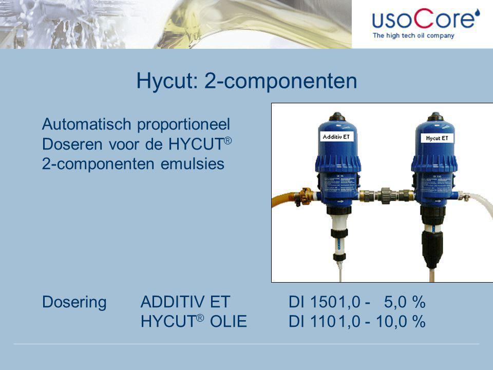 Hycut: 2-componenten Automatisch proportioneel Doseren voor de HYCUT ® 2-componenten emulsies DoseringADDITIV ETDI 1501,0 - 5,0 % HYCUT ® OLIEDI 1101,