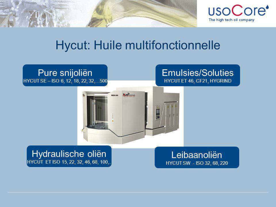 Hycut: Huile multifonctionnelle Pure snijoliën HYCUT SE – ISO 6, 12, 18, 22, 32,…500 Emulsies/Soluties HYCUT ET 46, CF21, HYGRIND Hydraulische oliën HYCUT ET ISO 15, 22, 32, 46, 68, 100,..