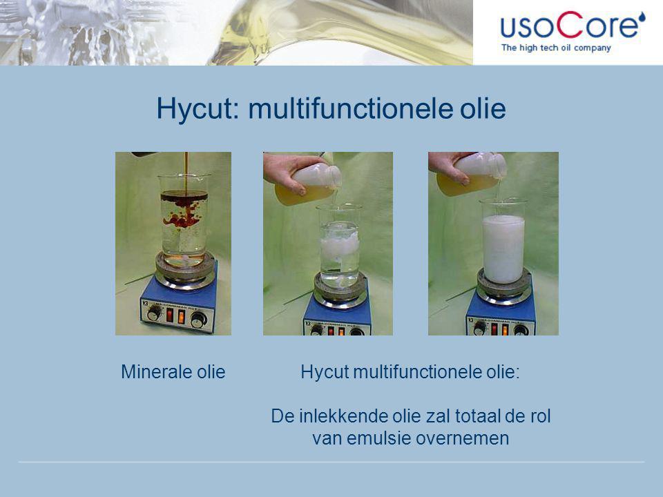 Hycut: multifunctionele olie Minerale olieHycut multifunctionele olie: De inlekkende olie zal totaal de rol van emulsie overnemen