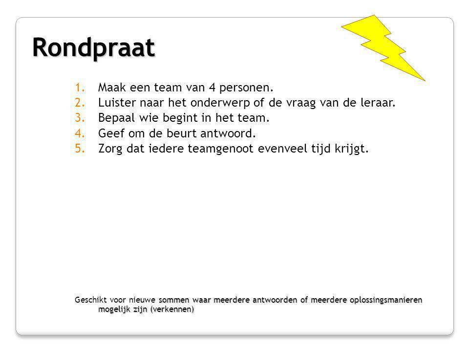Genummerde Koppen Bij Elkaar 1.Maak een team van 4 personen.
