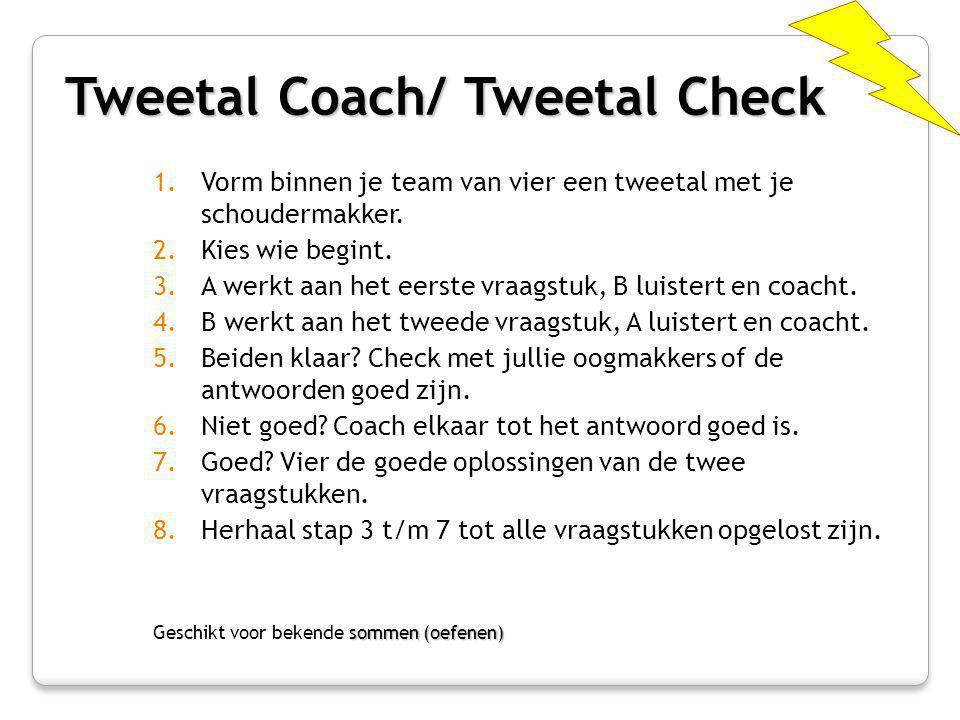 Tweetal Coach/ Tweetal Check 1.Vorm binnen je team van vier een tweetal met je schoudermakker. 2.Kies wie begint. 3.A werkt aan het eerste vraagstuk,