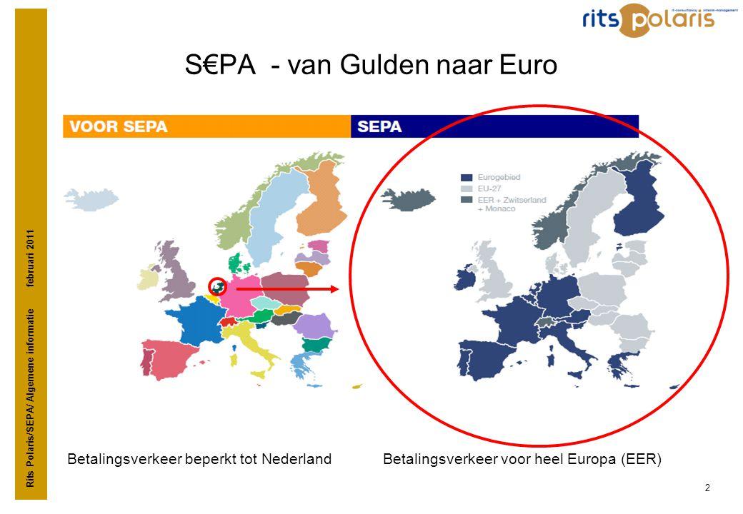 Rits Polaris/SEPA/ Algemene informatie februari 2011 2 S€PA - van Gulden naar Euro Betalingsverkeer beperkt tot Nederland Betalingsverkeer voor heel E