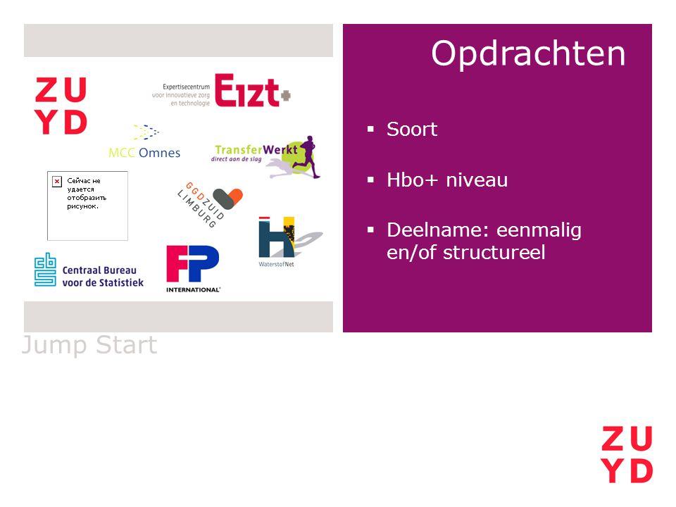 Jump Start Opdrachten  Soort  Hbo+ niveau  Deelname: eenmalig en/of structureel