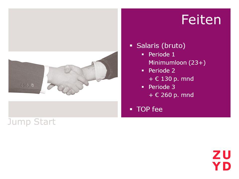 Jump Start Feiten  Salaris (bruto)  Periode 1 Minimumloon (23+)  Periode 2 + € 130 p. mnd  Periode 3 + € 260 p. mnd  TOP fee