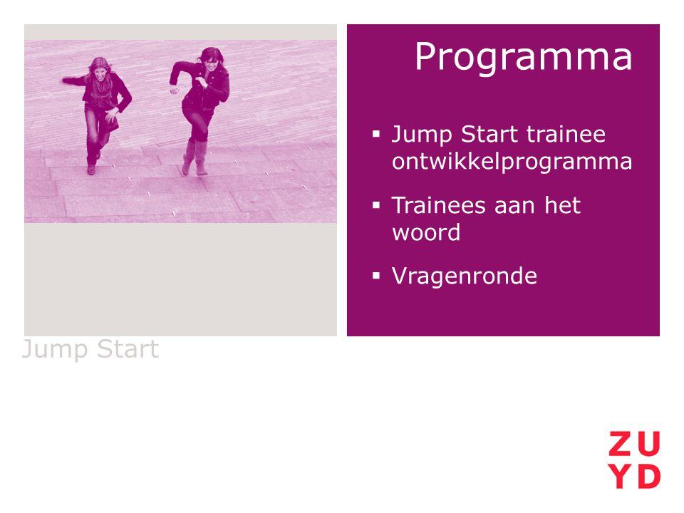 Programma  Jump Start trainee ontwikkelprogramma  Trainees aan het woord  Vragenronde Jump Start