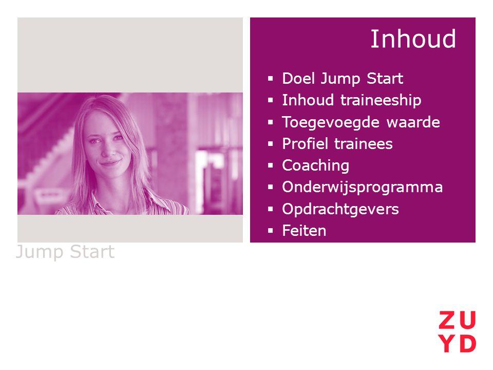 Inhoud  Doel Jump Start  Inhoud traineeship  Toegevoegde waarde  Profiel trainees  Coaching  Onderwijsprogramma  Opdrachtgevers  Feiten