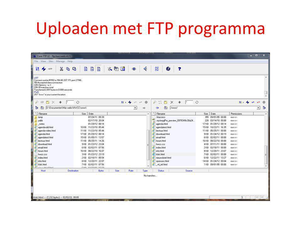 Uploaden met FTP programma