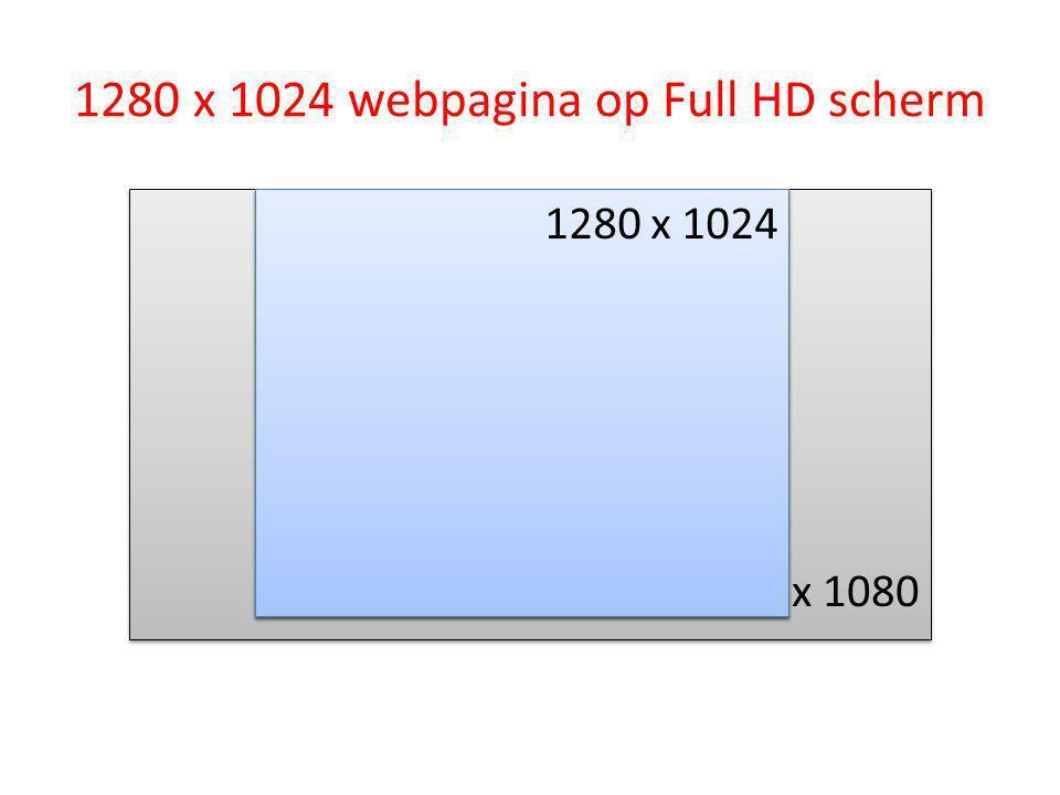 1280 x 1024 webpagina op Full HD scherm 1920 x 1080 1280 x 1024