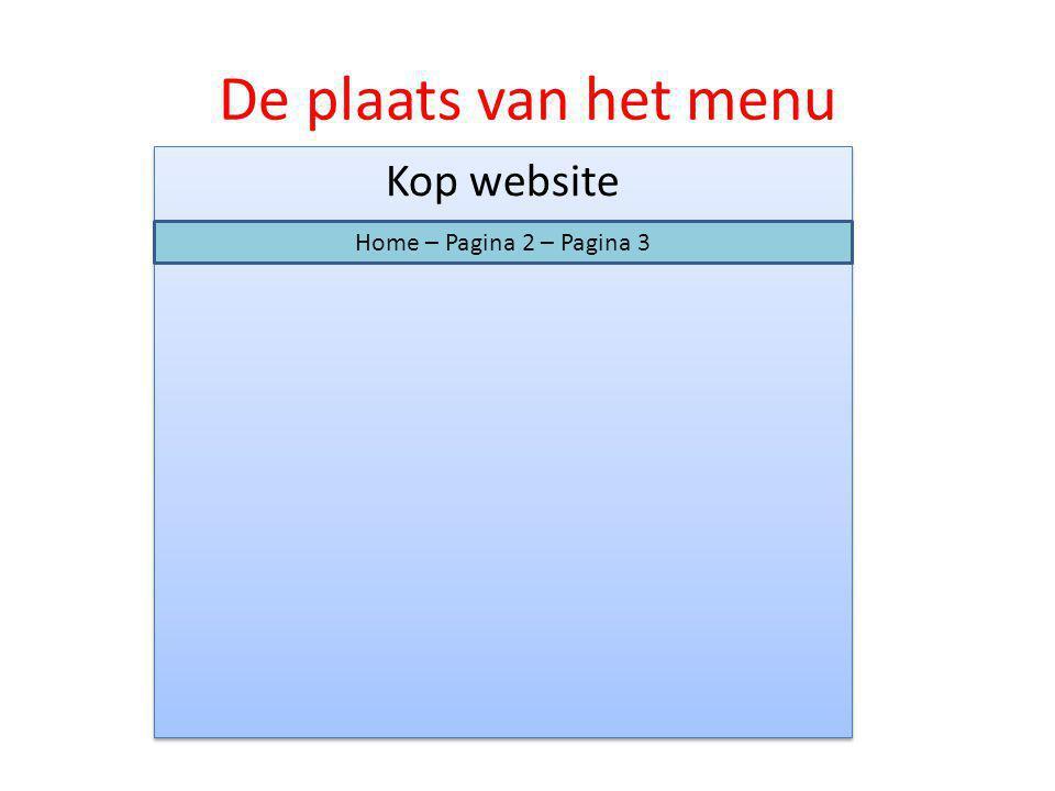 De plaats van het menu Kop website Home – Pagina 2 – Pagina 3