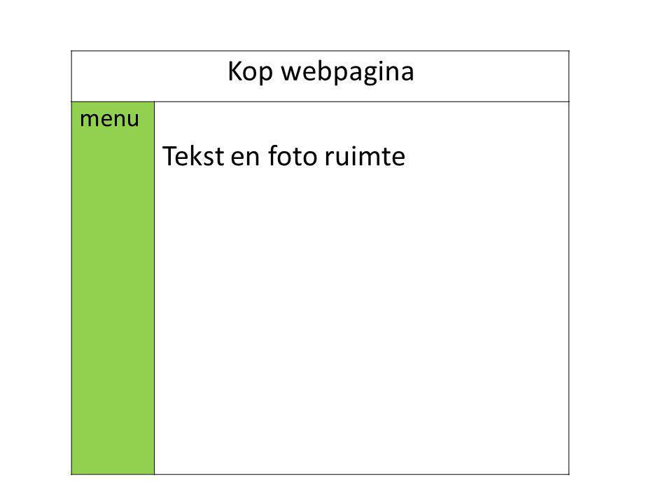 Kop webpagina menu Tekst en foto ruimte