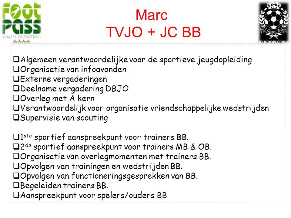 Marc TVJO + JC BB  Algemeen verantwoordelijke voor de sportieve jeugdopleiding  Organisatie van infoavonden  Externe vergaderingen  Deelname vergadering DBJO  Overleg met A kern  Verantwoordelijk voor organisatie vriendschappelijke wedstrijden  Supervisie van scouting  1 ste sportief aanspreekpunt voor trainers BB.