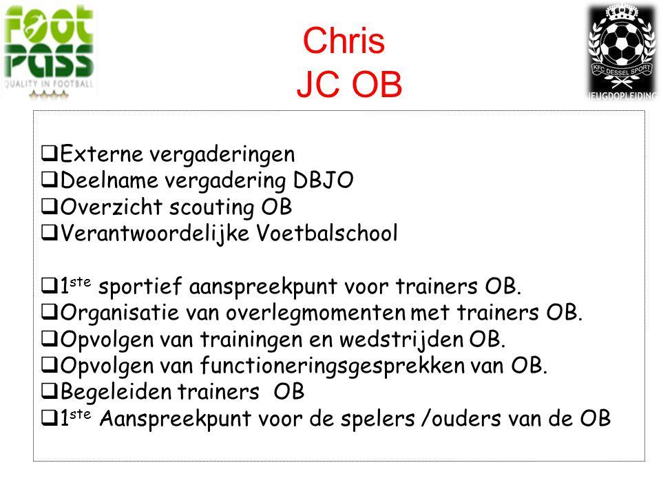 Chris JC OB  Externe vergaderingen  Deelname vergadering DBJO  Overzicht scouting OB  Verantwoordelijke Voetbalschool  1 ste sportief aanspreekpunt voor trainers OB.