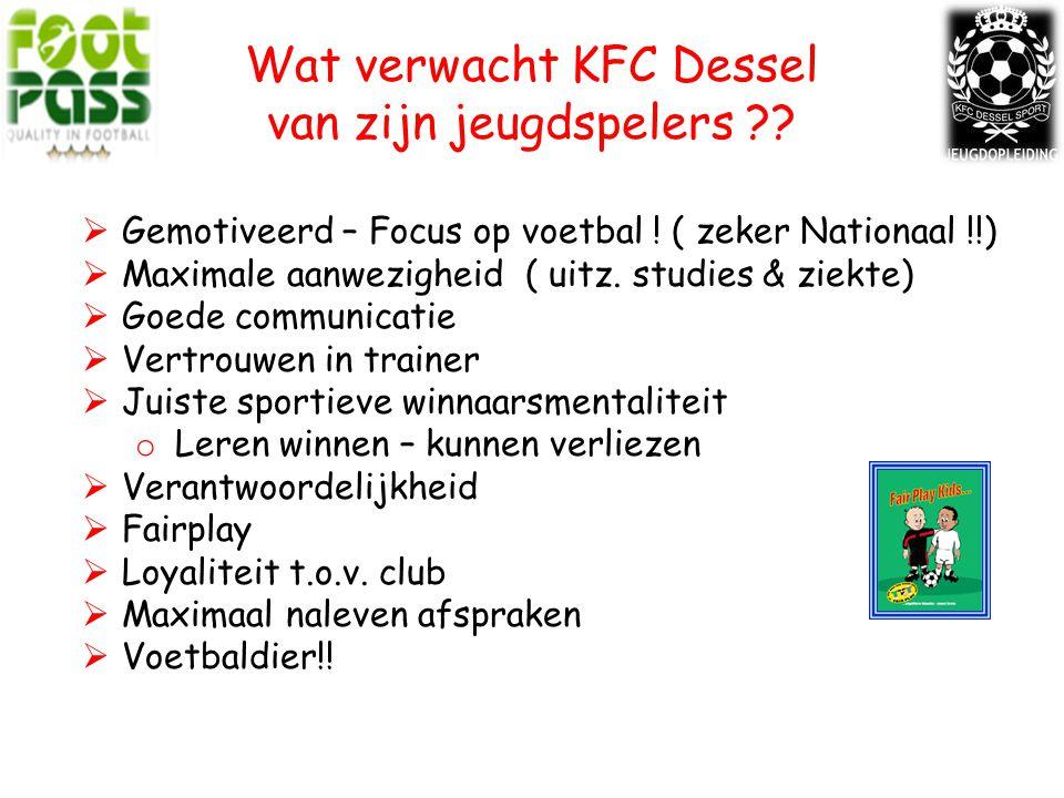 Wat verwacht KFC Dessel van zijn jeugdspelers ?. Gemotiveerd – Focus op voetbal .