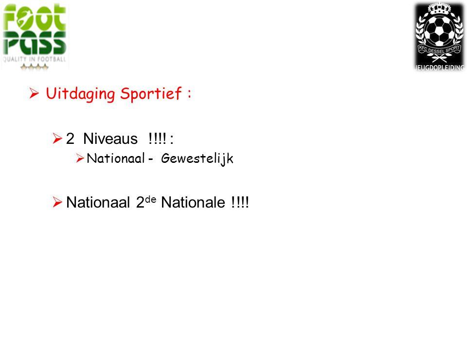  Uitdaging Sportief :  2 Niveaus !!!! :  Nationaal - Gewestelijk  Nationaal 2 de Nationale !!!!