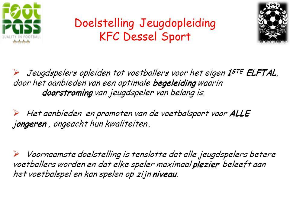 Doelstelling Jeugdopleiding KFC Dessel Sport  Jeugdspelers opleiden tot voetballers voor het eigen 1 STE ELFTAL, door het aanbieden van een optimale begeleiding waarin doorstroming van jeugdspeler van belang is.