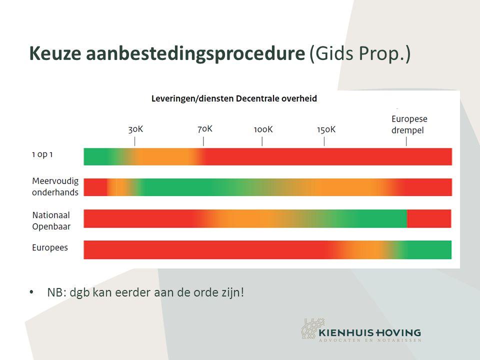 Keuze aanbestedingsprocedure (Gids Prop.) • NB: dgb kan eerder aan de orde zijn!