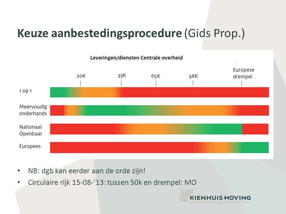 Keuze aanbestedingsprocedure (Gids Prop.) • NB: dgb kan eerder aan de orde zijn.