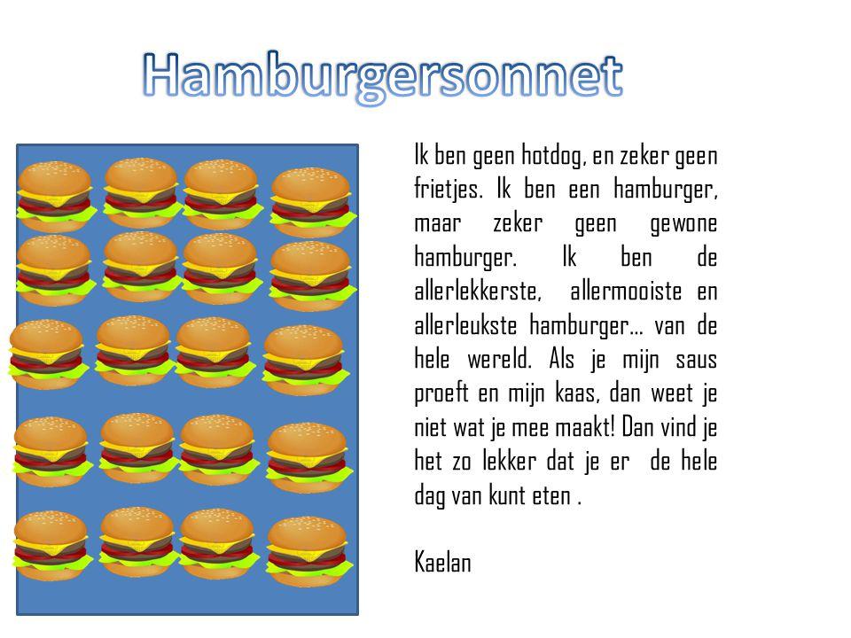Ik ben geen hotdog, en zeker geen frietjes. Ik ben een hamburger, maar zeker geen gewone hamburger. Ik ben de allerlekkerste, allermooiste en allerleu