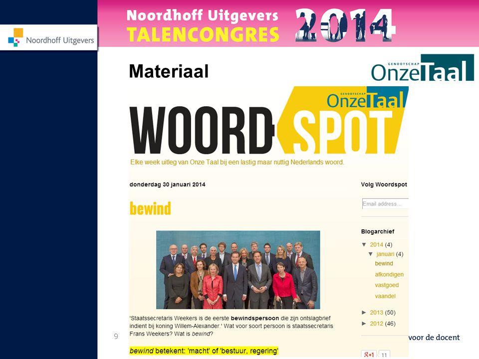 10 Vraag 1 Hoe gebruikt u het materiaal? (digitale) Onze Taal, website, app, TLPST, Woordspot