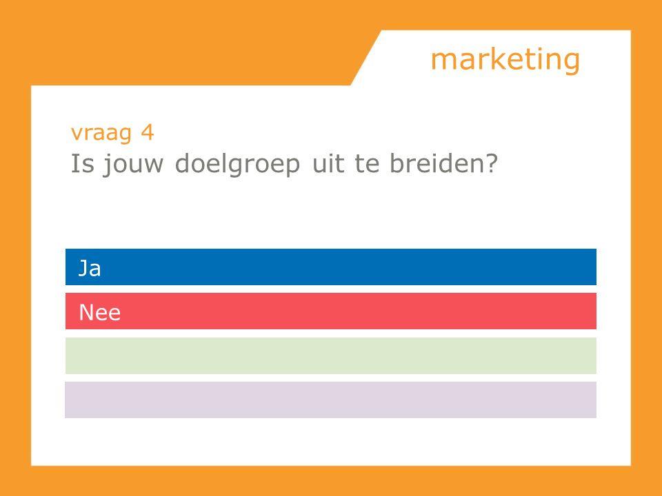 marketing vraag 4 Is jouw doelgroep uit te breiden? Ja Nee