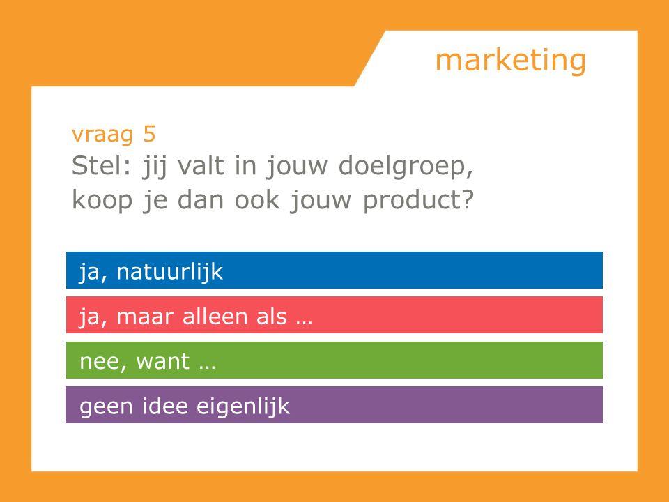 marketing vraag 5 Stel: jij valt in jouw doelgroep, koop je dan ook jouw product? ja, natuurlijk ja, maar alleen als … geen idee eigenlijk nee, want …